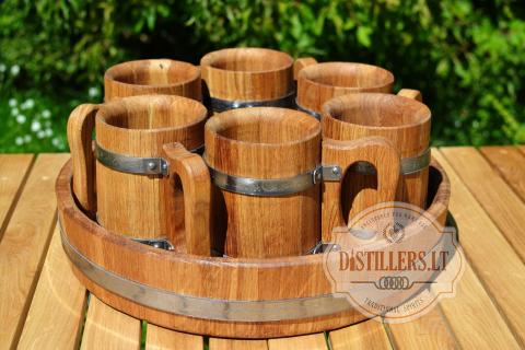 Set of oak beer mugs with a tray